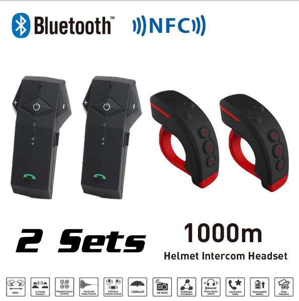 2 pcs/Lot télécommande 1000 m BT casque de moto Interphone Bluetooth Interphone casque avec NFC + FM trademconn colo-rc + L3