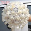European And American Brides Holding Flowers Wedding Flowers Ornament Pearl Ribbon Wedding Bouquet De Novia Bridal Bouquets YJ06