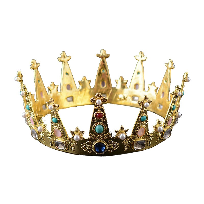 Eseres King Crown For Man Women Gold Colorful Crystal Queen Crown