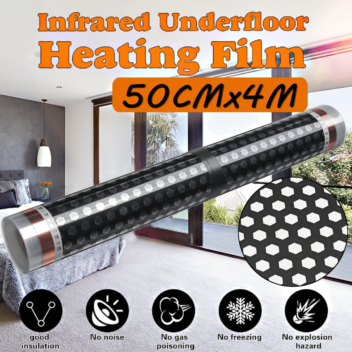50CM*4M Floor Infrared Underfloor Heating Film Honeycomb Reticulated 220V For Room