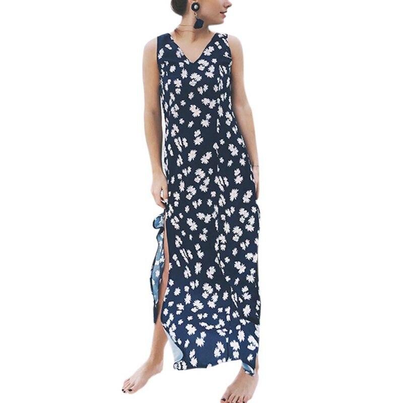 Women Bohemia V-neck Sleeveless Floral Print Ethnic Summer Beach Boho Long Dress Retro Hippie Vestidos Boho Dress