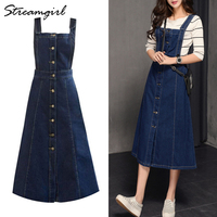 Long Denim Skirt With Straps Women Jeans Skirts Womens Plus Size Summer Women's Skirts Blue Maxi Jeans Skirt Strapped Female