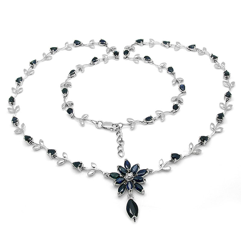Collares Qi Xuan Dark Blue Stone Элегантная подвеска Necklace Real Necklace Quality Guaranteed Manufacturer