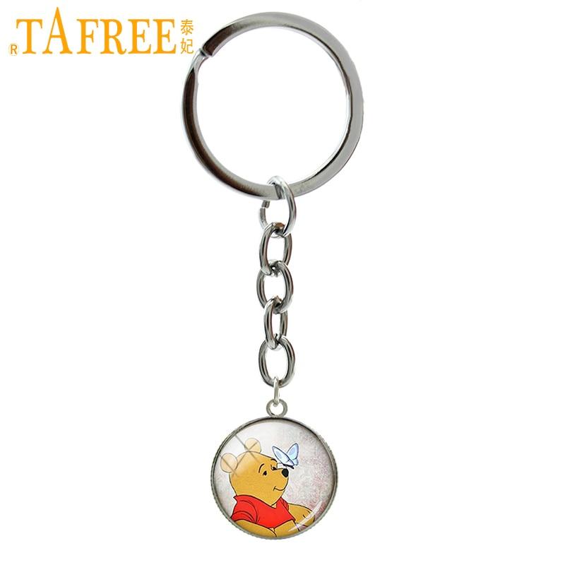 TAFREE Trendy Animal Symbol Keychain Cute Cartoon Bear Winnie Art Pendant Ring Jewelry Glass Cabochon Key Chain Boy Gift NS435