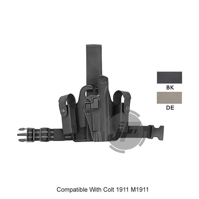 Tactique Serpa niveau 2 Auto Lock Duty jambe droite cuisse rapide pistolet étui w/2x poche de Magazine pour Colt 1911 M1911