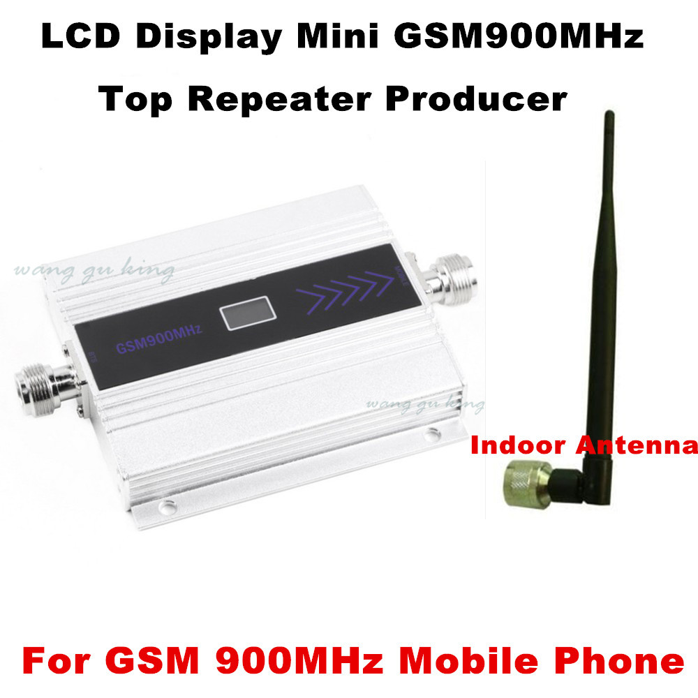 LCD Display Mini 2G GSM Repeater 900MHz Cell Mobile Phone GSM 900 Signal Booster Amplifier mobile signal amplifer indoor antenna