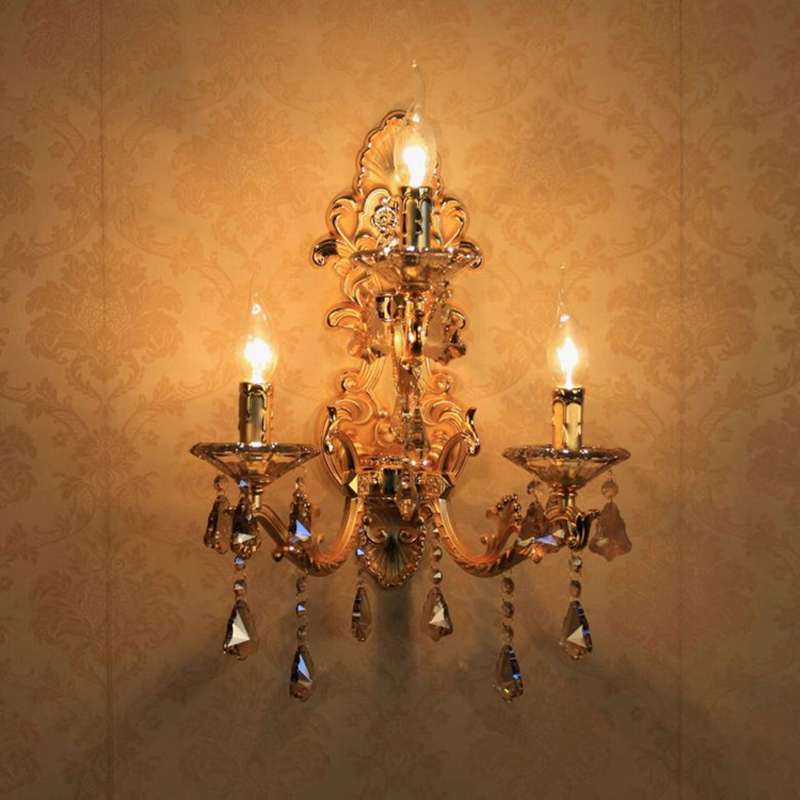 European Style Golden Wall Lamp Led E14 Candle Bulb Mounted Indoor Crystal Lights for Home bedside
