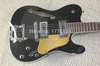 . TOP Quality new TL black Semi Hollow Body Guitar Jazz Electric Guitar with Bigsby Silver Hardware