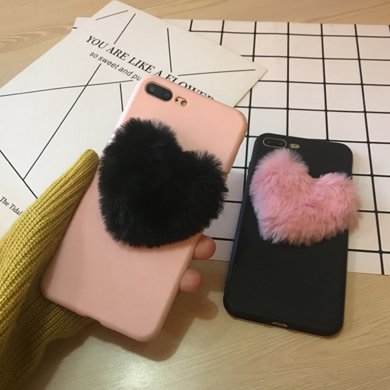 3D Cute Soft Fluffy Warm Fur Case For iPhone X 7 8 Plus Love Heart Furry Plush Cover For ...