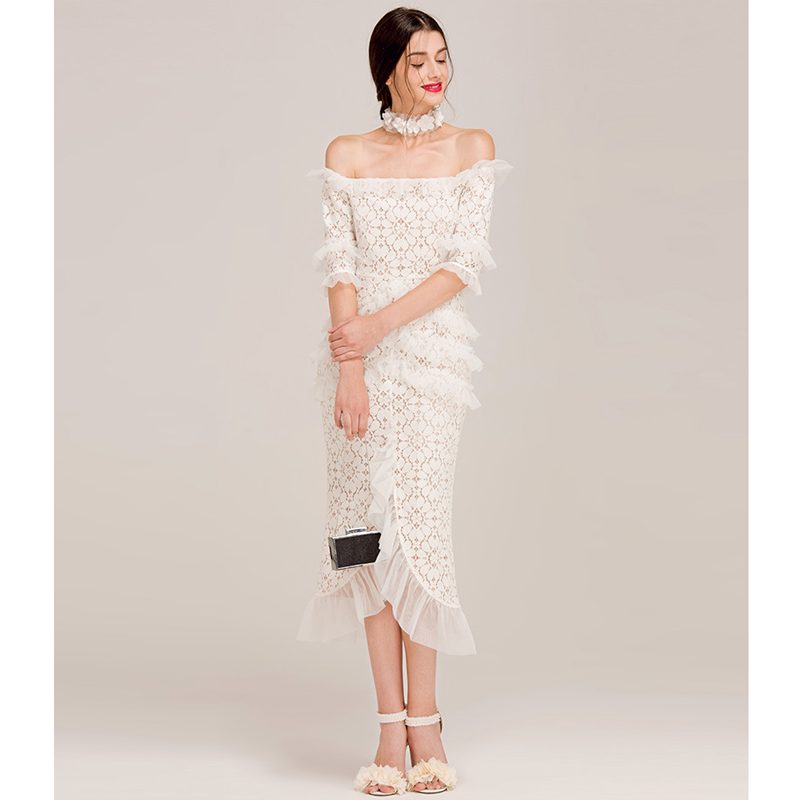 tulle frill ruffle white lace party dress off the shoulder half sleeve fishtail sexy bodycon women
