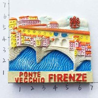 Florence, Italy Ponte Vecchio Tourist Souvenirs 3D Resin Fridge Magnets Home Decoration Refrigerator Magnetic Stickers