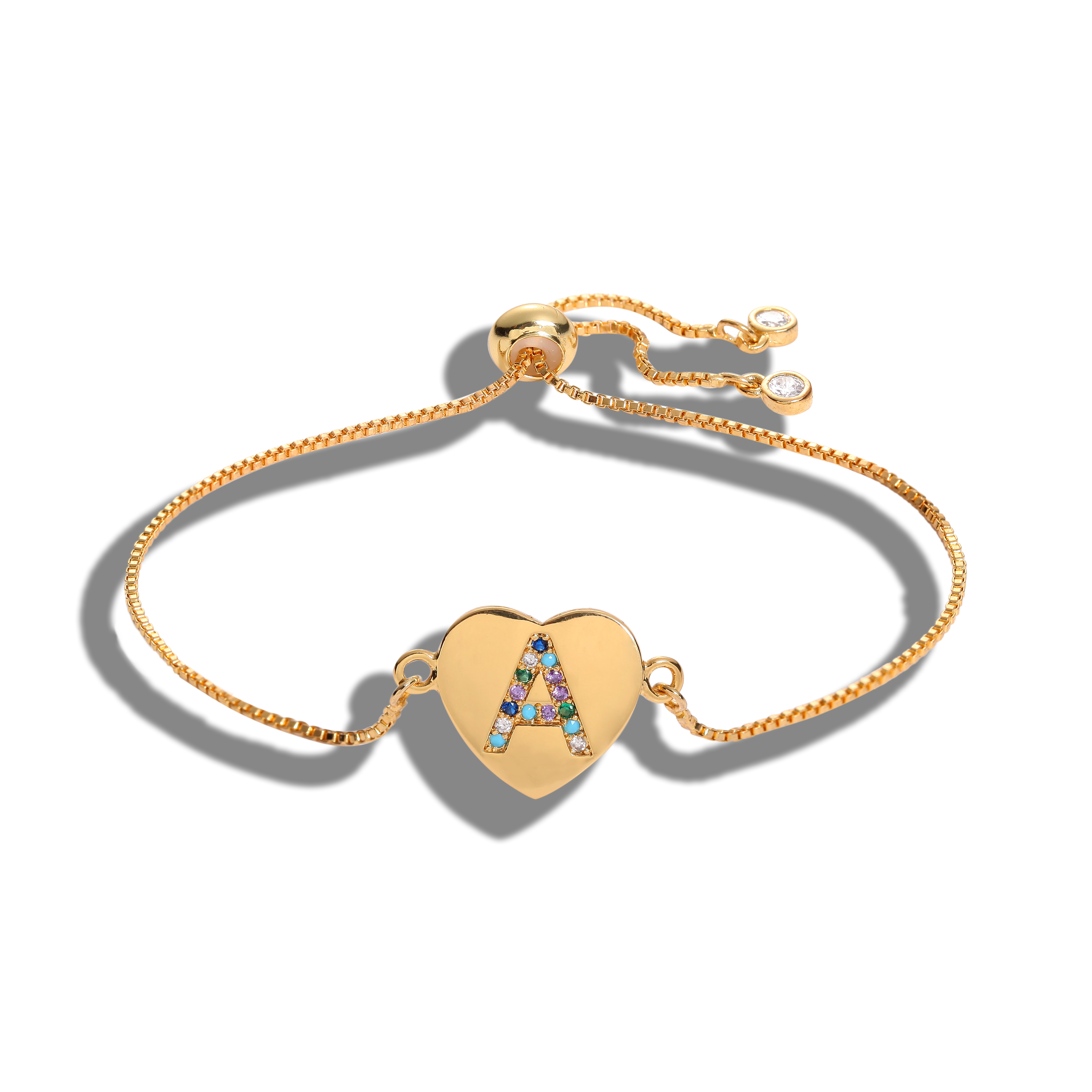 Rainbow 26 Letter Letter Charm Bracelet Cubic Zirconia Female Copper A-Z Initial Chain Ladies Bracelet Jewelry Adjustable Size