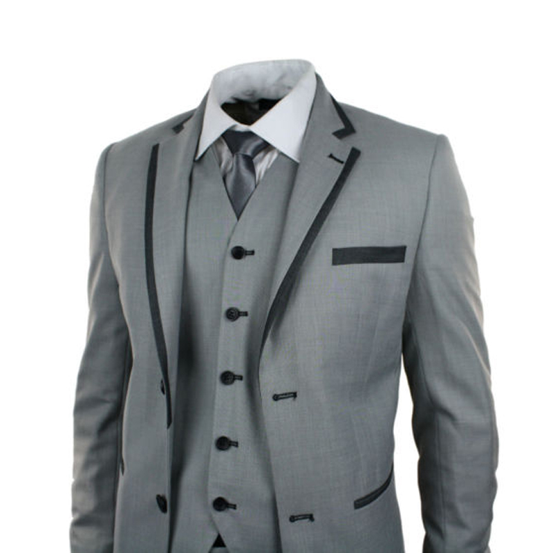Mens Light Grey 4 Piece Suit Charcoal Trim Prom Wedding