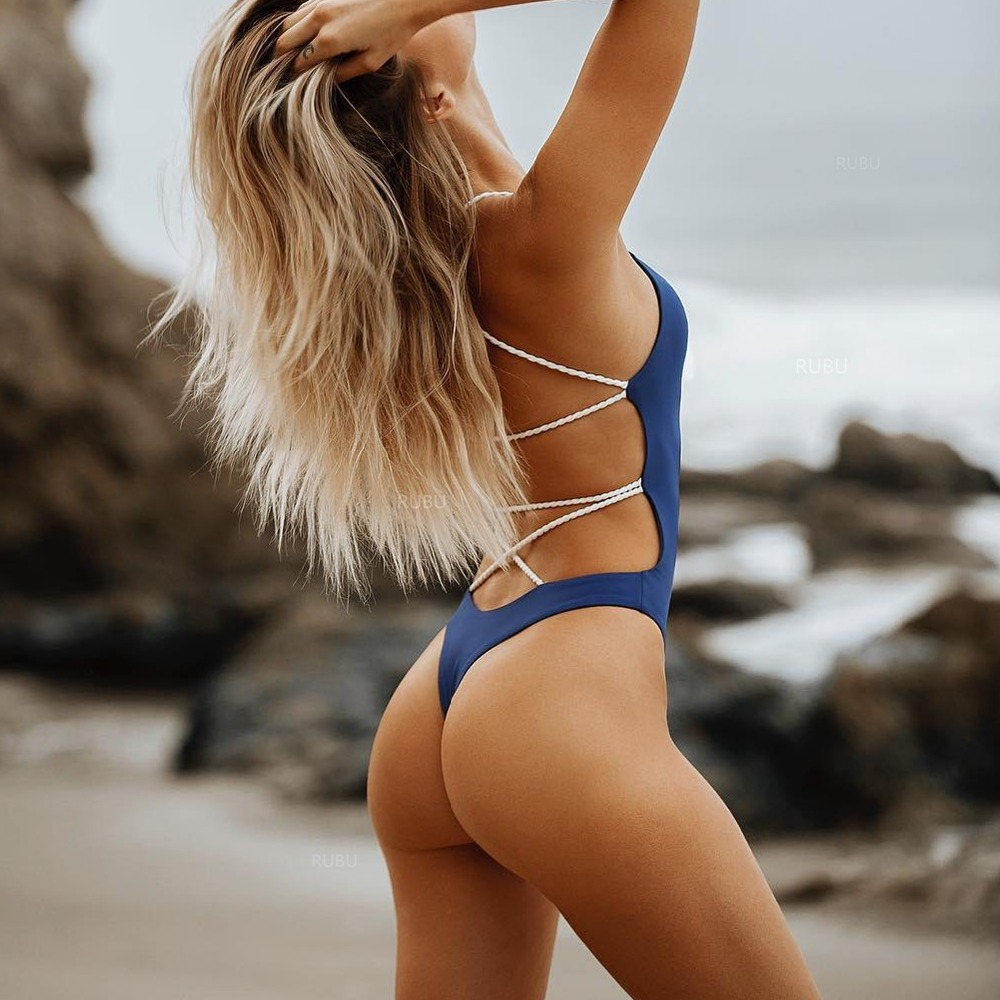 Sólida Sexy Swimsuit Mulheres One Piece Swimwear Cintura Alta Maiô Azul <font><b>Swim</b></font> <font><b>Suit</b></font> Beachwear <font><b>Retro</b></font> Monokini Bodysuit Do Vintage image