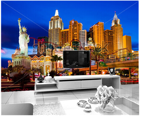 Custom Photo Wallpaper, Large Mural Las Vegas Night Construction Vinyl  Wallpaper Papel De Parede For Part 96