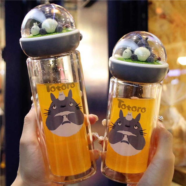 חמוד Totoro זכוכית מים בקבוק לילדה שכבה כפולה זכוכית Cartoon שתיית בקבוק מים Drinkware בקבוק מבודד
