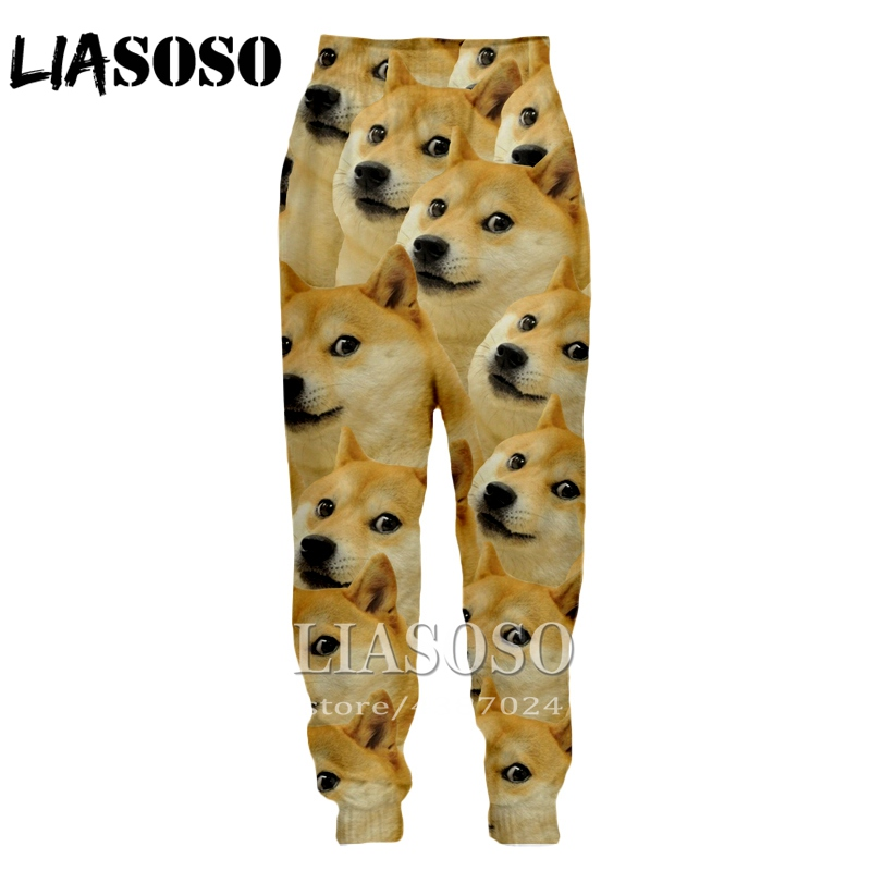 LIASOSO 3d Print Men Women Cartoon Full Length Sweatpants Animal Doge Winter Pants Anime Cute Casual Funny 2019 Trousers E233