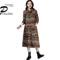 Retro Print Mid Long Blanket Dress Winter Warm Turtleneck Oversized Vintage Wool Dress Women Long Sleeve Loose Thicken pullover