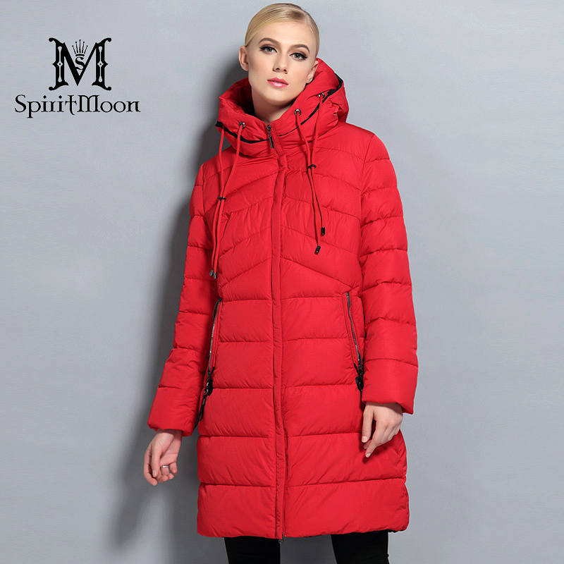 09488ab8877e1 SpiritMoon 2017 New Winter Fashion Winter Long Down Jacket Women Hooded Thick  Down Parka Winter Coat