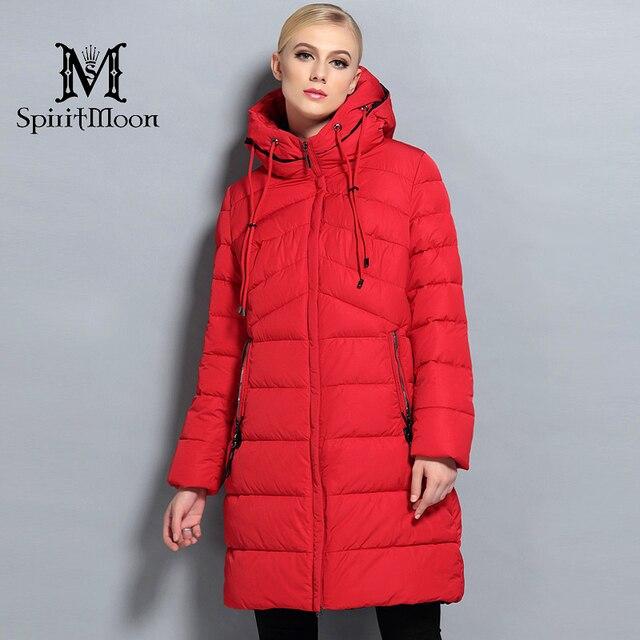 Spiritmoon 2017新しい冬のファッション冬の長いダウンジャケット女性フード付き厚いダウンパーカー冬コート女性プラスサイズ5xl 6xl