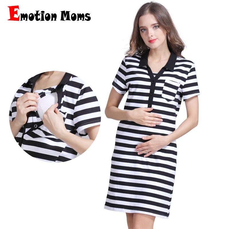 Emotion Moms Summer Maternity dress pregnancy clothes Striped Breastfeeding Dresses for Pregnant Women Skirt nursing dress women s attractive strapless striped high slit dress