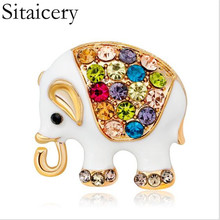Sitaicery Enamel Colorful Elephant Brooches Men And Women Suits Collar Brooch Pins Scarf Buckle Luxury Jewelry
