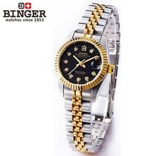 Binger Original Diseño Mujeres relojes automáticos Ventana de zafiro Resistente Al Agua completo acero Negro Oro Señoras reloj de pulsera de reloj horas