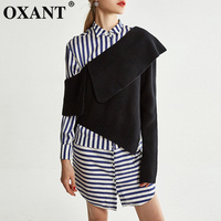 OXANT Striped Shirt Dress Two Piece Sets Female Long Sleeve Patchwork Dresses with Slash Neck Sweater Sets 2019 Autumn
