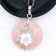 Trendy-beads Popular Silver Plated Round Hollow Natural Rose Pink Quartz with Flower Pendant Link Chain Necklace