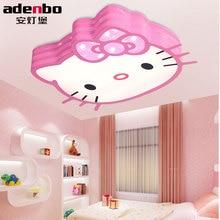 Télécommande Moderne LED Plafond Lampe Lumières de Bonjour Kitty Enfants Blanc Et Rose 24 W SMD LED Sans Électrode Dimmable éclairage