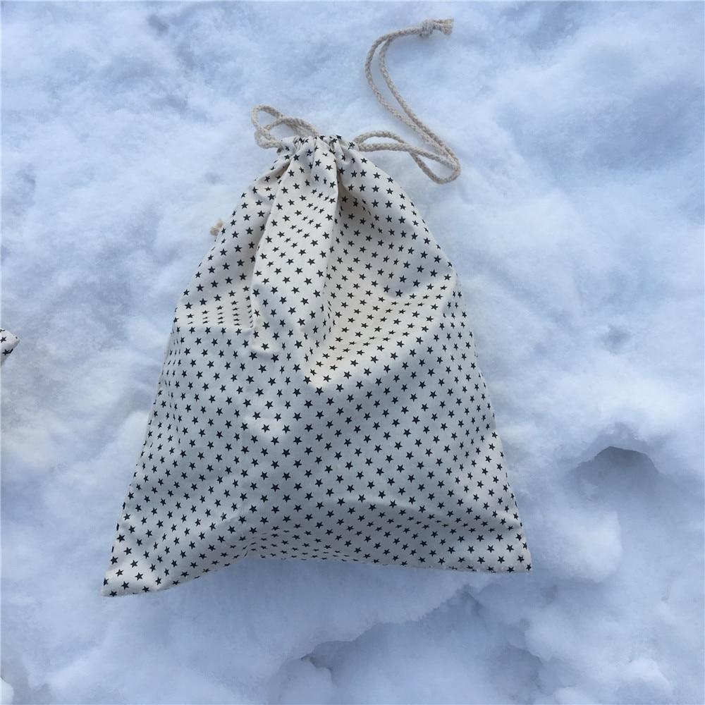 YILE 1pc 1pc Cotton Drawstring Pouch Party Favor Multi-purpose Bag Black Star White 8129d