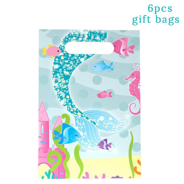 6pcs Gift Bags Mermaid party plates 5c64f5cb309a9