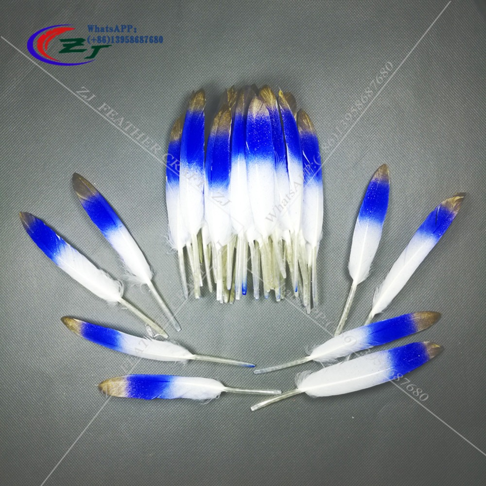 New 100pcs/lot Natural Beautiful Goose Feather Decoration 4-6 Inches 10-15 cm Gold Tips Dyed Goose Feather for Craft