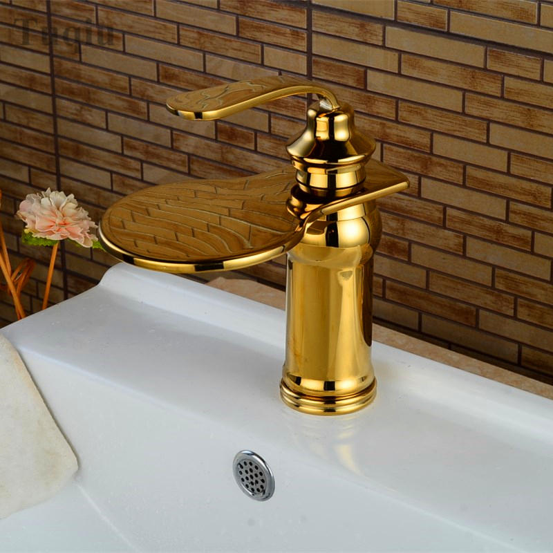 Free Shipping Gold/chrome/black brass bathroom sink faucet,single lever waterfall basin faucet water tap mixe free shipping high quality chrome finished brass in wall bathroom basin faucet brief sink faucet bf019
