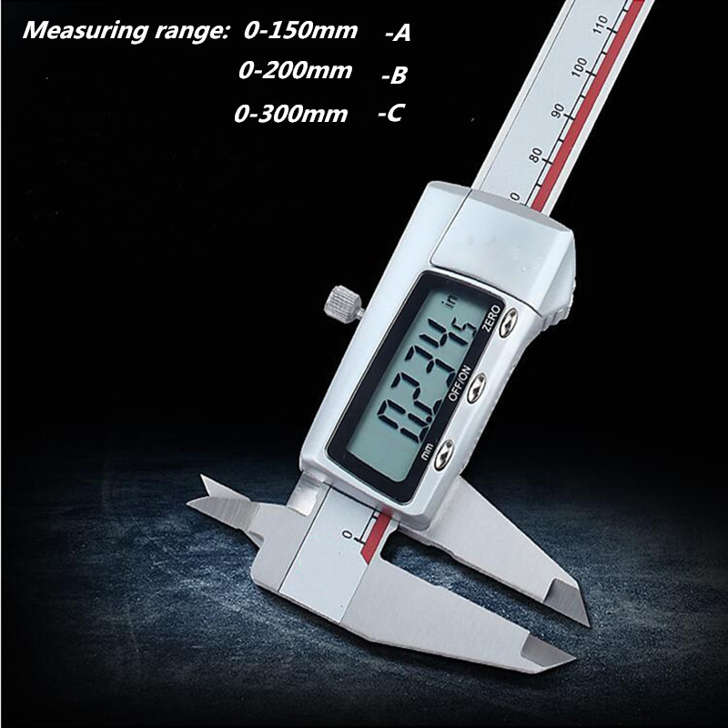 Stainless steel 0-150/200 /300mm caliper  LCD digital electronic vernier caliper measuring instrument measuring tool 150mm 6inch electronic vernier caliper ip54 waterproof stainless steel digital caliper resolution 0 01mm measuring tool with box