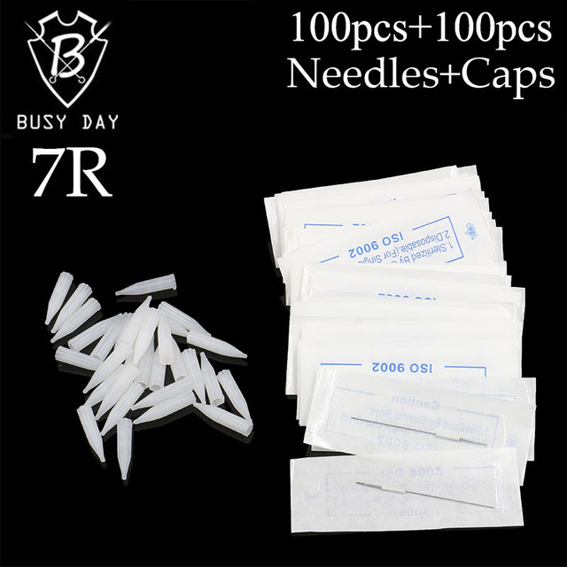 7R (needles + Tips Each 100pcs ) Promotional Professional Permanent Makeup Machine Needles With Tips Caps For