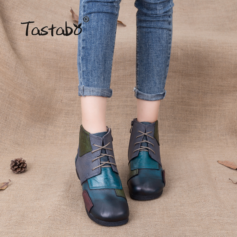 Tastabo 2018 Fashion Handmade Boots For Women Ankle Shoes Vintage Shoes Folk Style Genuine Leather Women Boots tastabo handmade autumn women genuine leather shoes cowhide loafers real skin shoes folk style ladies flat shoes for mom sapato