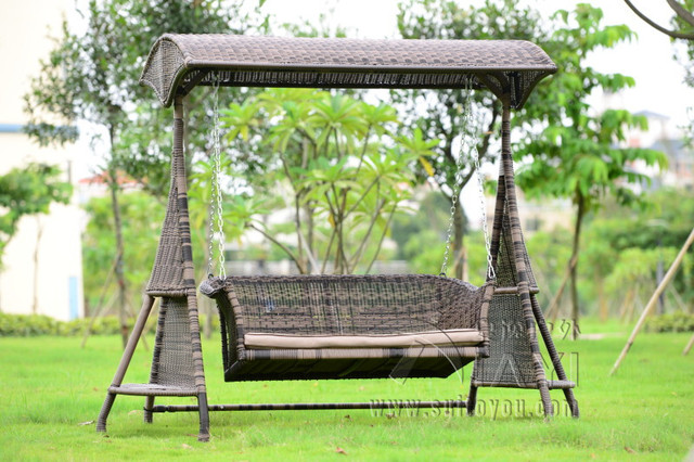 Delightful 2 Person Wicker Garden Swing Chair Outdoor Hammock Patio Leisure Cover Seat  Bench With Cushion