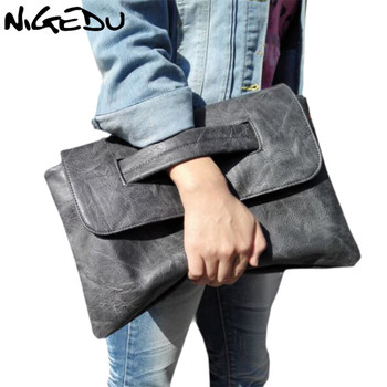 NIGEDU brand design women Clutches large PU leather Crossbody Bags for women Shoulder messenger bag Simple big Ladies handbag