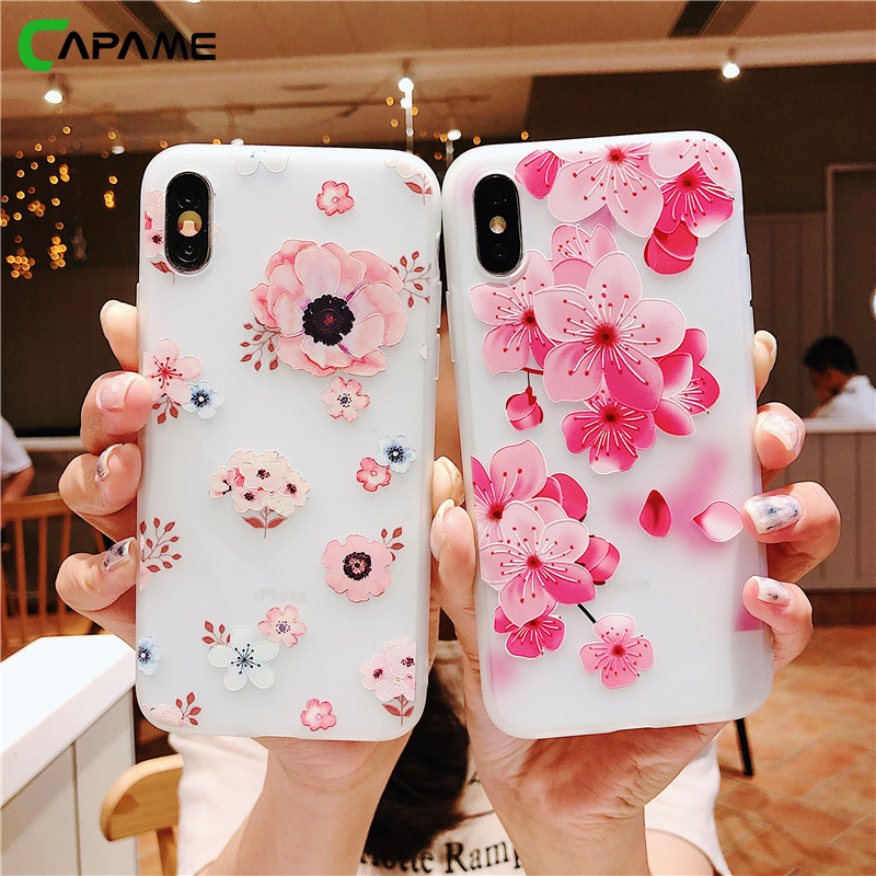 CAPAME Phone Cases For iPhone 6 Case Floral Flower 6S 7 8 Plus For iPhone 7 Case TPU Girl
