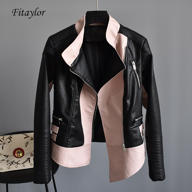 Fitaylor Autumn Faux Soft Leather Women Short Jacket Asymmetric Punk Bomber Coats Turn down Collar Zipper