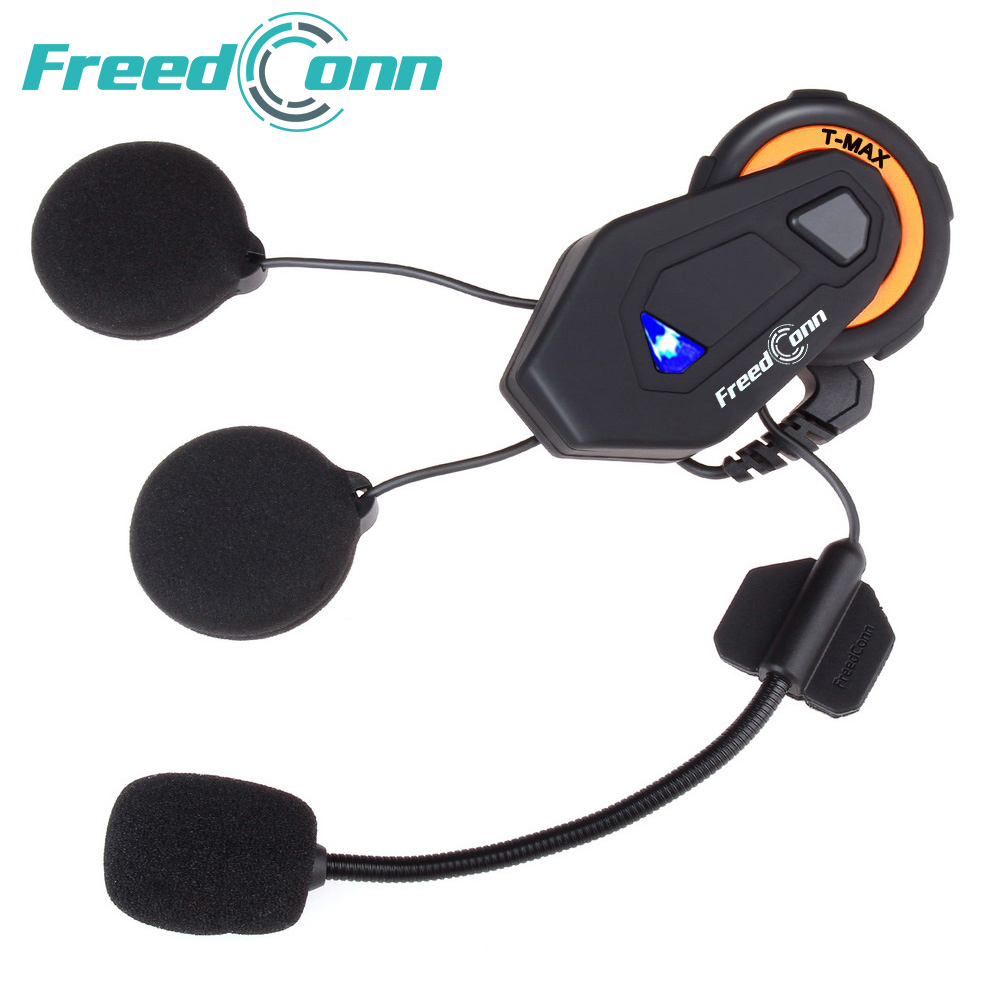 Freedconn T-MAX motorcycle helmet bluetooth headset intercom 6 riders group intercom BT Interphone FM Radio Bluetooth 4.1 bluetooth helmet intercom t rex 8 riders waterproof full duplex motorcycle group talk system 1500m bt interphone headset with fm