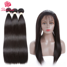 Beau Hair Brazilian Straight 3 Bundles With 360 Lace Frontal Deals Natural Color Non-Remy Human Hair Weaving With Closure Deals