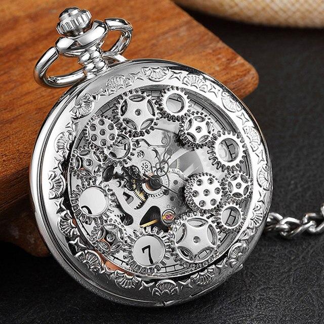 Antique Hollow Gears Silver Mechanical Pocket Watch Men Vintage Steampunk Fob Cl