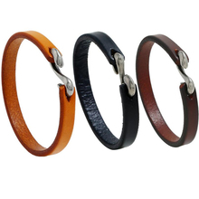 Bracelet Vintage Black/Brown Genuine Leather Hook Men Wristband Bangles Male Jewelry creative student wristband
