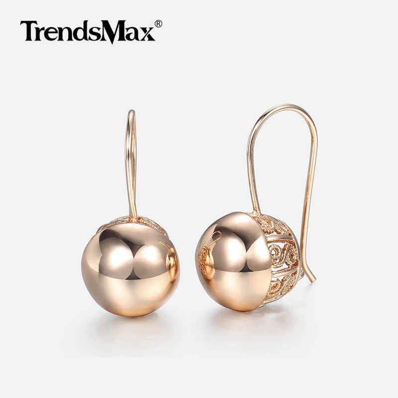 Hot Cut Out Ball Earrings For Women Girls 585 Rose Gold Woman Zircon Dangle Earrings  Wedding Party Exquisite Jewelry GE66