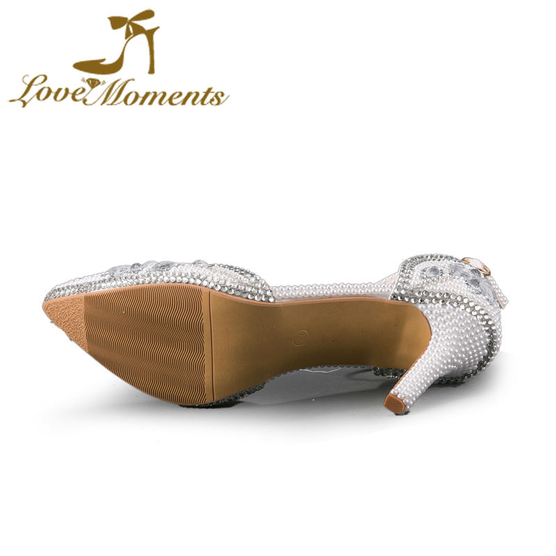 Chaussures Partie Mariée De Mariage Main Rose Strass rouge Bout Sangle À Haute blanc Pompes Anniversaire La Cristal Talons Boucle Femmes Pointu rqprxnAwT