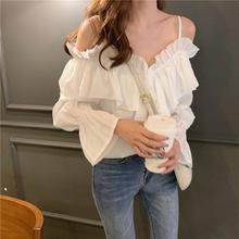 2019 New Yfashion Summer Girl Flounce Off Shoulder Fashion Halter Design V-neck Casual Shirt