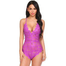 V Neck Backless Floral Lace One Piece Bodysuit