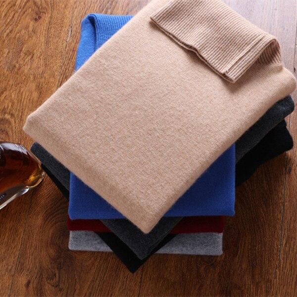 Добавить толщиной 100% Шевро кашемировая Водолазка мужская бутик базовых пуловер свитер сплошной цвет S/105 2XL/125
